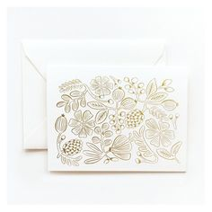 """Elegant, gold-foiled notecards feature a pretty hand-drawn botanical illustration. Set of 8 cards and envelopes, 4.25 x 5.5"""" folded. By Rifle Paper Co."""