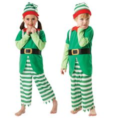 Kids Helpful ELF Christmas Boys Girls Fancy Dress Santas Helper Child Costume | eBay
