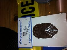 Chocolate molded police badge for party favor