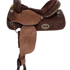 Alamo Chocolate Barrel Racer or Pleasure Saddle 1 Barrel Saddles For Sale, Western Saddles For Sale, Barrel Racing Saddles, Horse Saddles, Tree Seat, Ice Stone, Saddle Shop, Stainless Steel Plate, Boots Store