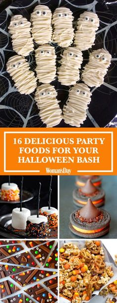 Create these tasty treats to wow at your Halloween bash. Here you'll find fun and easy Halloween party food recipes like White Chocolate Mummy Pretzels, Caramel Apple Nachos, Nutter Mummies, Halloween Candy Bark, and more.