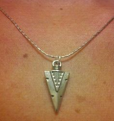 Sterling Silver Arrowhead Charm Necklace by OneSEC on Etsy, $9.00
