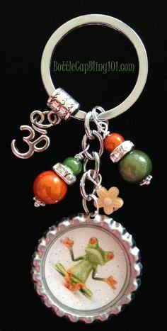 YOGA FROG bottle cap key chain Ohm charm by BottleCapBling101, $16.00