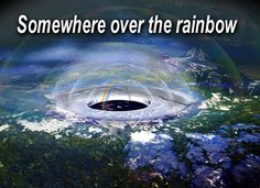 """Flat Earthers use the curve of the rainbow to """"prove"""" a dome. However, how do they then explain that the ends of a rainbow are not literally at the edges of the earth, but are actually only less than a mile apart? Also, how do they explain that aeroplanes fly above rainbows? And that the arched curve of a rainbow can be seen when you make a rainbow with the hose on a summer day? Their rainbows don't """"prove"""" anything above and beyond that RAINBOWS curve, not that there's an invisible dome!"""