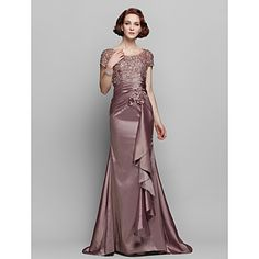 Sheath/Column+Scoop+Sweep/Brush+Train+Taffeta+And+Lace+Mother+of+the+Bride+Dress+–+AUD+$+174.72