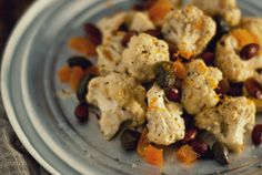 Cauliflower Salad with Almonds, Apricots & Fried Capers.