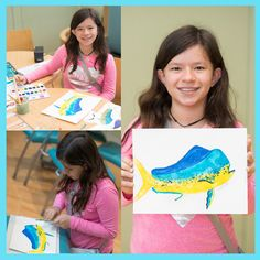 Catch of the Day: MAHI MAHI! Our  artists MESMERIZE me with their talent. Giovanna, 12, from Caracas, Venezuela was impressive with her  concentration and patience in creating this Mahi Mahi. We talked about each step of the art piece—the flatness of the fish's face, the intricate spines in the fins, how she would blend from teal to yellow. She used watercolor paint AND watercolor pencils, and for the final step… loaded her brush, and carefully flicked tiny spots all down the belly.