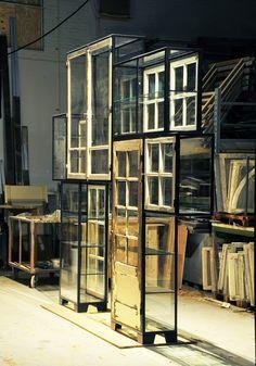 NEW - Steel old window cabinet