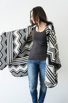 Chevron Poncho Black White Poncho Outerwear Coat Women by Urbe