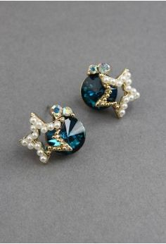 Diamond Pearl Star Earrings - Retro, Indie and Unique Fashion