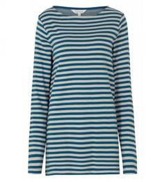 Womens Striped Tunic Top, PETROL BLUE GREY - Winter Warmers, Striped Tee, Blue Tops, Tunic Tops, Tees, Long Sleeve, Cotton, Mens Tops, T Shirt