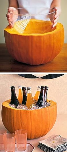 Clean the inside of the pumpkin and use as an ice-chest for your next Halloween Party. Easy for a quick party at the office or at home! Adult Halloween Party, Halloween Food For Party, Holidays Halloween, Halloween Treats, Happy Halloween, Halloween Food For Adults, Favorite Holiday, Holiday Fun, Festive