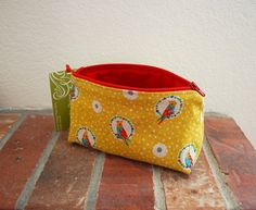 Small Fabric Zippered Pouch / Bag with Flat Bottom & Full Lining - Japanese Echino Yellow Cockatiels Fabric with Red Lining(Etsy のEpidendronDesignsより)