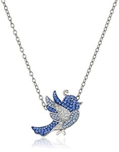 Sterling Silver Blue Love Bird with Swarovski Elements Pe... This necklace buying guide help you find which styles and features are right for you.  http://diamondproguide.com/choose-necklace-pendant/