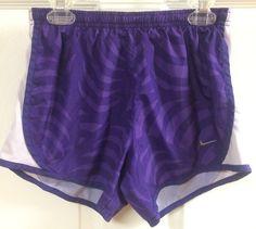Nike Dri-Fit Purple Striped Swirl Athletic Running Shorts Sz Small White Mesh   #Nike