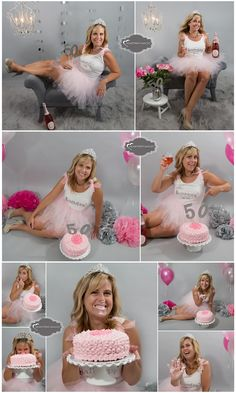 Oh what fun we had during this special Milestone Birthday photo session.This lovely lady celebrated turning 50 in style with champagne, flowers, a tutu and her own pink dessert. Classiest cake  ...