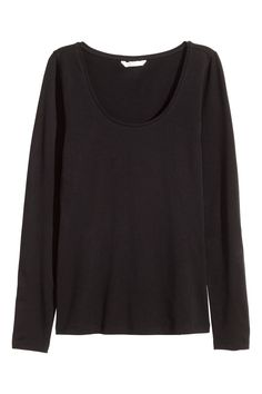 7bc32a58c1 Black. Fitted top in soft stretch jersey with a wide neckline and long  sleeves.