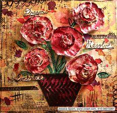 "Dream, Resolve, Embrace by jessica.sporn, via Flickr -- using the Balzer Designs ""Herringbone"" stencil"