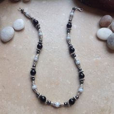 Pewter with Onyx, Hematite and Angelite Necklace