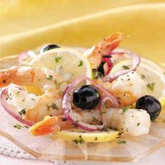 SIMPLE MARINATED SHRIMP Ingredients  2 pounds cooked medium shrimp, peeled and deveined 1 medium red onion, sliced and separated into rings 2 medium lemons, cut into slices 1 cup pitted ripe olives, drained 1/2 cup olive oil 1/3 cup minced fresh parsley 3 tablespoons lemon juice 3 tablespoons red wine vinegar 1 garlic clove, minced 1 bay leaf 1 tablespoon minced fresh basil  SEE FULL RECIPE https://www.facebook.com/photo.php?fbid=10153074476561667&set=oa.608615975951186&type=3&theater