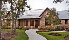 Steines Residence Pole Barn House Plans, Pole Barn Homes, Craftsman House Plans, Country House Plans, Country Living, Country Home Exteriors, Hill Country Homes, Texas Hill Country, House Exteriors