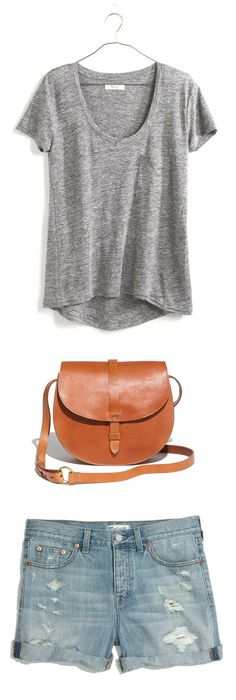 Madewell Clothing // Timeoff Tee, Dylan Saddle Bag, and Rip and Repair Shorts. Love me some Madewell.