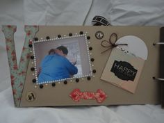 """Back of """"V"""" page. Love You album by Connie Hitchcock from a kit by The Crafting Cottage - Painted Post NY"""