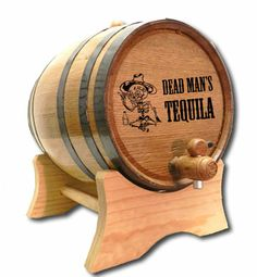 personalized tequila barrel with skeleton