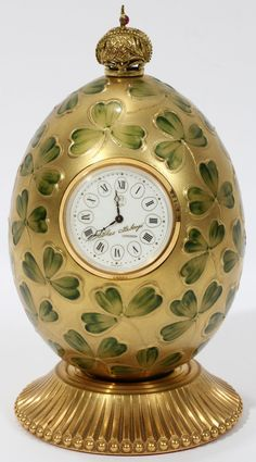 """THEO FABERGE ENAMEL EGG WITH CLOCK, H 5 1/4"""""""
