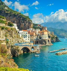 Amalfi Italy mountain water outdoor landform geographical feature Sea Town Nature Coast vacation tourism cliff bay terrain cape travel Village hillside