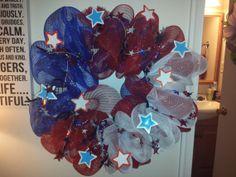 Patriotic Deco Mesh Wreath by AdoorableMesh on Etsy, $30.00