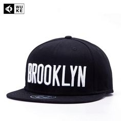 9367c6d98ab  WUKE  Brand Brooklyn Letter Cap Black Adjustable Snapback Hat For Man Women  Flat Brim Hip Hop Outdoor Casual Baseball Hat