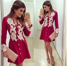 2017 neue ankunft casual red chiffon dress lange sleve v-ausschnitt spitze kleider taste über knie dress