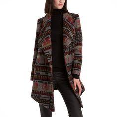 Manteau imprimé à pans asymétriques femme en drap de laine - 3 Suisses