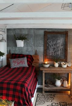 Woodland Christmas farmhouse bedroom decor, by Knick of Time, featured on Funky Junk Interiors. - Feste Home Decor Christmas Guest Room, Rustic House, Cabin Bedroom, Bedroom Decor, Cabin Decor, Farmhouse Bedroom Decor, Christmas Bedroom, Remodel Bedroom, Home Decor