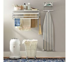 Find laundry room accessories from Pottery Barn. Update your laundry room with expertly crafted and stylish laundry hampers, ironing boards and laundry shelving. Drying Rack Laundry, Laundry Room Organization, Laundry Rooms, Laundry Decor, Storage Organization, Organizing, Small Space Storage, Small Shelves, Storage Hacks