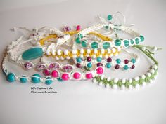 Macrame Bracelets 8 summer white themed for gits or party https://handmadeartists.com/shop/LOVEwhatIdo