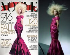 Born this way? Not exactly. Lady Gaga donned a curve-hugging gown that seemed to perfectly accentuate her hourglass figure for the cover of Vogue's September issue, but a behind-the-scenes video of Gaga's hair-raising photo shoot shows the singer may have gotten the airbrush treatment. The glossy seems to have slimmed down her waist and jawline.