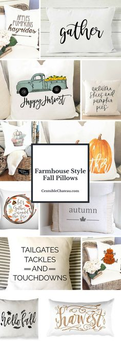 Fall pillows are EVERYTHING! These farmhouse style fall pillows are the cutest ones you will find for your fall decor. Click to the blog to see many more! #fallpillows