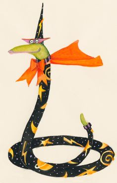 Even {Sorcerous} snakes like to partake in Halloween! Halloween Gourds, Halloween Witches, Halloween Clipart, Halloween Images, Vintage Halloween, Halloween Crafts, Halloween Pictures To Print, Happy Halloweenie, Halloween Embroidery