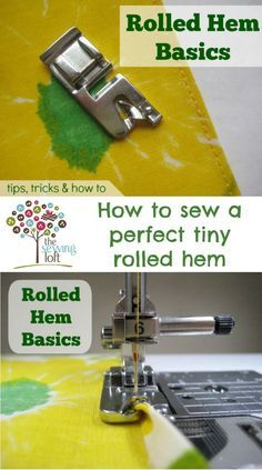 All about how to sew a beautiful rolled hem on your machine with this specialty foot. Using the special rolled hem foot takes care of everything in a single pass - quick, easy and oh-so pretty. A basic rolled hem is perfect for napkins. Also works great Sewing Hacks, Sewing Tutorials, Sewing Crafts, Sewing Tips, Sewing Ideas, Sewing Lessons, Dress Tutorials, Sewing Basics, Techniques Couture
