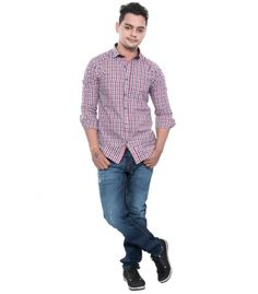 Grey Booze Red Casual Slim Fit Shirt