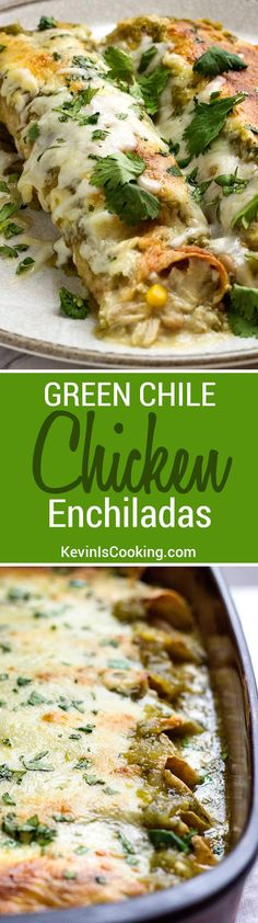 These Green Chile Chicken Enchiladas use shredded rotisserie chicken, white beans, corn and plenty of Pepper Jack cheese then are smothered in a green salsa verde. Super easy to put together and are g (Rotisserie Chicken Chili) Mexican Dishes, Mexican Food Recipes, Dinner Recipes, Green Chili Recipes, Vegetarian Recipes, Mexican Desserts, Drink Recipes, Cooking Ingredients, Cooking Recipes