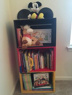 A Mickey Mouse Bookcase I Took Three Wooden Crates And Painted Them Before Attaching Each Together The Ears Ended Up Using 6 In Cake Boards