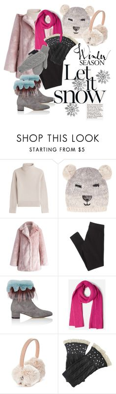 """winter wonderland"" by justeeeiiinnne ❤ liked on Polyvore featuring Vanessa Seward, Dorothy Perkins, Chicwish, American Eagle Outfitters, Manolo Blahnik, Everlane and The North Face"