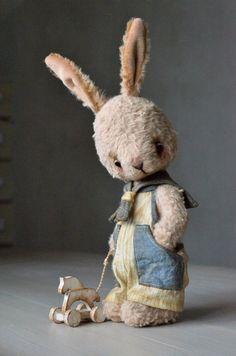 "Teddy Bear stile Artist viscose OOAK Rabbit ""Mike"" 10 inch teddy hare handmade collectible jointed Teddy Bear toy bunny by SanaTeddyBears on Etsy https://www.etsy.com/listing/218316524/teddy-bear-stile-artist-viscose-ooak"