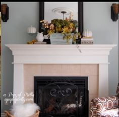 Mantle decor idea. Large mirror resting on the mantle?