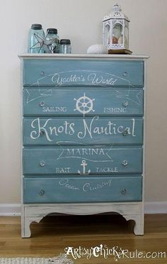 coastal themed thrift store dresser graphics annie sloan chalk paint, chalk paint, painted furniture, painting, Custom graphic designed by me hand painted on the entire front of the piece Coastal Style, Coastal Decor, Coastal Living, Nautical Style, Coastal Cottage, Nautical Theme, Country Living, Repurposed Furniture, Painted Furniture