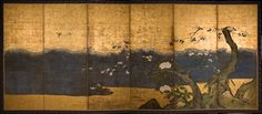 Kano School  River Landscape  Six fold screen (byobu)