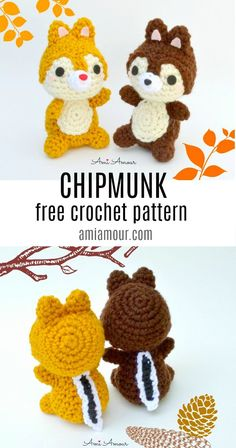 Crochet Chipmunk Amigurumi Pattern - FREE - Ami Amour A pair of Crochet Chipmunks in a FREE Pattern you'll go nuts over! This amigurumi pattern of the fun chipmunk duo is too playful to resist and will scamper their way into your heart! Crochet Disney, Crochet Pig, Chat Crochet, Crochet Whale, Crochet Pattern Free, Crochet Mignon, Crochet Patterns Amigurumi, Crochet Animal Patterns, Crochet Crafts